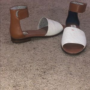 Adorable Velcro ankle strap flats/stripes & tan